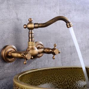 Wall Mount Antique Brass Swivel Bathroom Sink Faucet Basin Mixer Tap Dual Handle