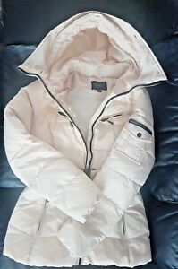 ATTENTIF Paris Ladie's Beige Winter Parka Quilt Jacket Coat Hoodie UK 10 EU 38