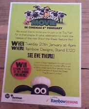 Aardman Animation Shaun the Sheep promotional movie invite/flyer
