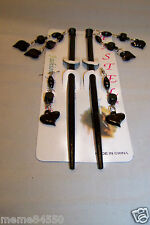 Black Heart Shape Dangle Wooden Hair Sticks With Matching Earrings
