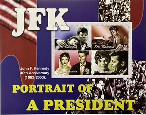 GAMBIA JOHN F KENNEDY STAMPS 2002 MNH PORTRAIT OF A PRESIDENT 40TH ANV JFK #2678