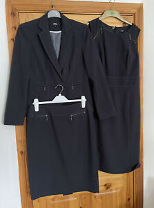 Ladies M&S Tailored 3 Piece Dark Grey Suit: Jacket, Dress & Skirt 12