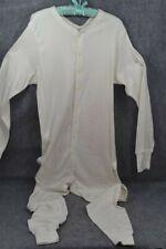 long John union suit trap door chest 42-50 white cotton original antique vintage