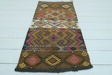 "Turkish Kars Small Kilim, Doormat, Bathmat Decor Wool Rugs Carpet Tapis 23""x44"""