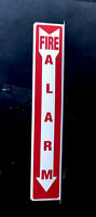 """VINTAGE FIRE ALARM SAFETY DOUBLE SIDED FLANGED PORCELAIN SIGN 24"""" GAS OIL"""