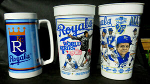 KANSAS CITY ROYALS 1985 World Series & 1993 Cups, 2 Vinyl Stickers + 1986 Thermo