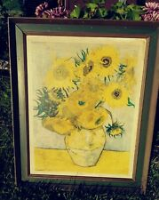 1962 VINCENT VAN GOGH Antique Still Life Oil Painting SUNFLOWERS framed DAC N.Y.