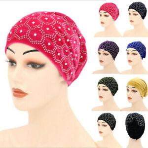 Fashion Cross Pleated Decor Women Muslim Hijab Turban Hat Head Wrap Elastic Cap BrawljRORty Womens Hats