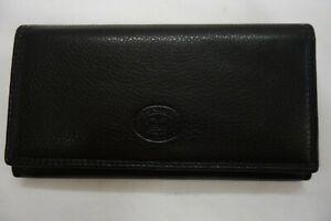 Ladies Leather Purse Wallet Organiser Flap Over Top Brand Black RFID Protected