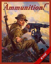 WWI AMMUNITION MACHINE GUN SOLDIER PROPAGANDA POSTER REAL CANVAS WAR ART PRINT