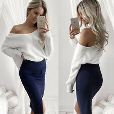 Womens Casual Long Sleeve Loose Knit Sweater Jumper Baggy Pullover Tops Knitwear