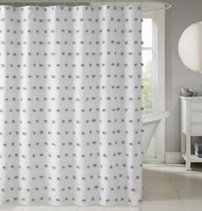 Madison Park Gray Pom Pom White Shower Curtain 72x72 Nwot