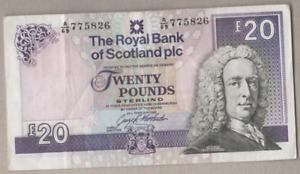 ROYAL BANK OF SCOTLAND PLC  £20 NOTE PREFIX  A/69  775826   1993  FREEPOST