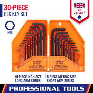 30Pc Allen Key Set Metric & Imperial Combination Hex Wrench Keys With Case Tool