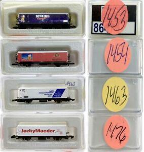 MARKLIN Z SCALE M/M 1453-1454-1463-1476  4 COLLECTOR Freight Cars Marklin BoxsC8