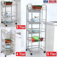 3/4/5 Tier Stainless Rolling Utensils Trolley Cart Kitchen Storage Rack Shelf US