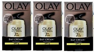 3 x OLAY 12g TOTAL EFFECTS DAY CREAM NORMAL 7 IN ONE SPF 15 BRAND NEW