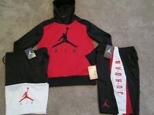 NEW Boys NIKE  3Pc OUTFIT AIR JORDAN THERMA-FIT Red Hoodie+2Shorts YMD FREE SHIP