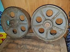 "Matching ANTIQUE VINTAGE INDUSTRIAL FACTORY CART CASTER CAST IRON WHEELS 5 "" USA"