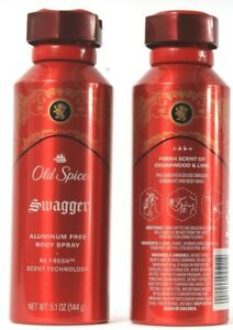 2 Bottles Old Spice Swagger Aluminum Free Body Spray Lasts All Day 5.1 Fl oz