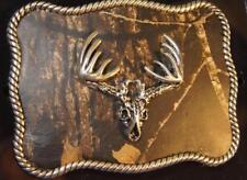 Nocona Western Belt Buckle Roped Buck Deer Skull  MOSSY OAK CAMO 37958
