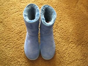 UGG  AUSTRALIA MID CALF BLUE Suede Fur Boots Women's Size 10 ~New~AUTHENTIC