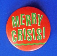 "Hallmark BUTTON PIN Christmas Vintage MERRY CRISIS1.5"" Holiday Pinback"