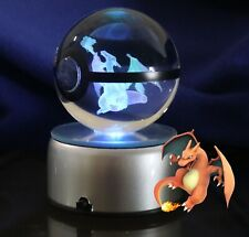 Pokemon Blaine's Charizard 3D Led Crystal Ball Night Light 80Mm Large Base Set