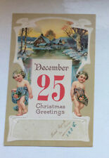 Antique Art Noveau CHRISTMAS Card -- 2 The Esplanade, Fleetwood.