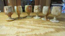 Pakistan Onyx Hand Carved Set #59 Of 6 Wine Goblets Glasses