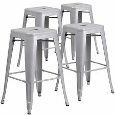 """26"""" in Silver Counter Stools Set of (4) Set Modern Backless Stool Vintage Style"""