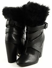$285 POUR LA VICTOIRE BIONDA Black Leather Faux Fur Trim Designer Ankle Boots 6