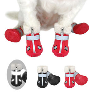 4Pcs Zipper Leather Anti-Skid Pet Shoes Dog Boots Booties Dog Paws Protection