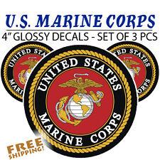 3 PCS - U.S. Marine Corps LARGE Vinyl Decal Glossy Stickers Semper FIdelis