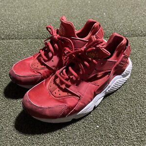 Nike Air Huarache Shoes Womens 9.5 Red Logo Low Top Lace Up Casual Walking