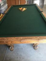 New 7.5 Ft Wood Pool Table Ball And Claw Billiard Game Room Set Balls Cues