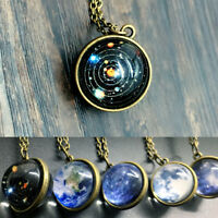 Solar Galaxy System Planet Necklace Pendant Double Sided Glass Dome Ball Jewelry