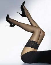 BLACK GLOSSY LACE TOPPED THIGH HIGH SHEER STOCKINGS -  15 DENIER HOLD UPS