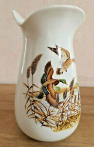 Antique Vase White Porcelain French Scene Hunting Pheasant Lake Reed