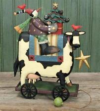 "Snowman on Cow Pull Toy - ""Moo-ry Christmas"" - Williraye Studio - 2941- NIB"