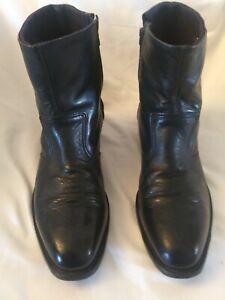 Laredo Cowboy Western Black Leather Side Zip Ankle Boots Mens Size 12D Excellent