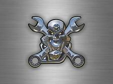 Autocollant sticker voiture moto macbook skull piston moteur tete de mort tuning