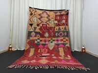 "Abstract Boujaad Moroccan Rug Berber Vintage Handmade Rug 4'9""x 8'3"" Feet Carpet"