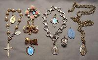 Lot of 1950s Vintage Catholic Medals Blue Enameled Mary Brooch Bracelet Cross +