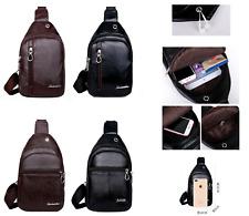 New Men's Women Leather Bag Cross Body Shoulder Hiking Sling Chest Backpack Bag