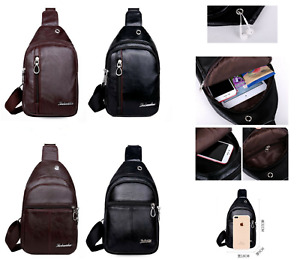 New Men's Women Leather Bag Cross Body Shoulder Hiking Sling Chest Backpack Bag