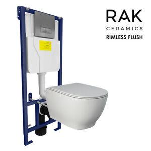 RAK Moon Rimless Toilet WC Pan & Soft Close Seat Wall Hung Dual Cistern Frame