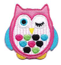 "2X2.25""  pink Owl IRON ON SEW ON PATCH applique big eyes wink polka dot stripe"