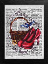DICTIONARY PAGE ART STYLE PRINT WIZARD OF OZ, NO PLACE LIKE HOME WALL ART QUOTE.