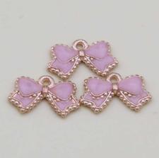 DIY 30PCS pink bow pendant alloy bracelet earring jewelry accessories 10*17mm